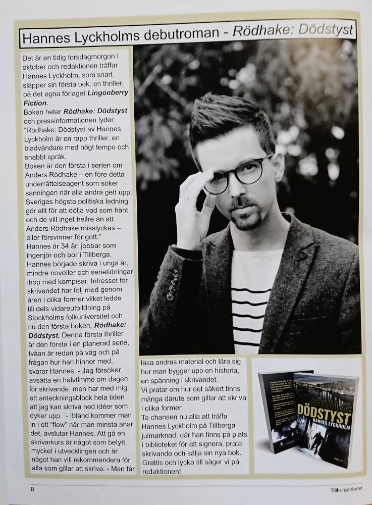 Tillbergabladet intervju Hannes Lyckholm