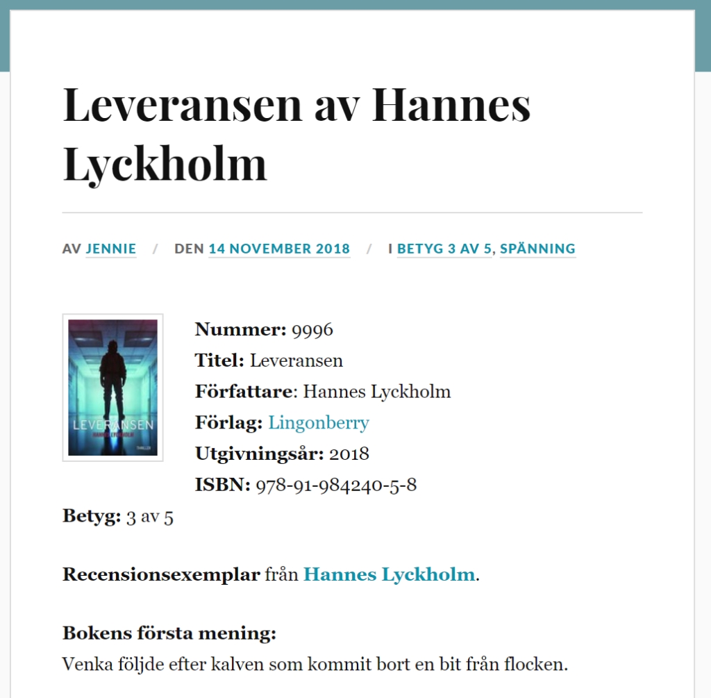 Recension Jennies boklista Leveransen av Hannes Lyckholm