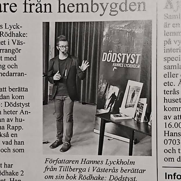 Hembydsjournalen Hannes Lyckholm Rödhake: Dödstyst Leveransen författarföreläsning