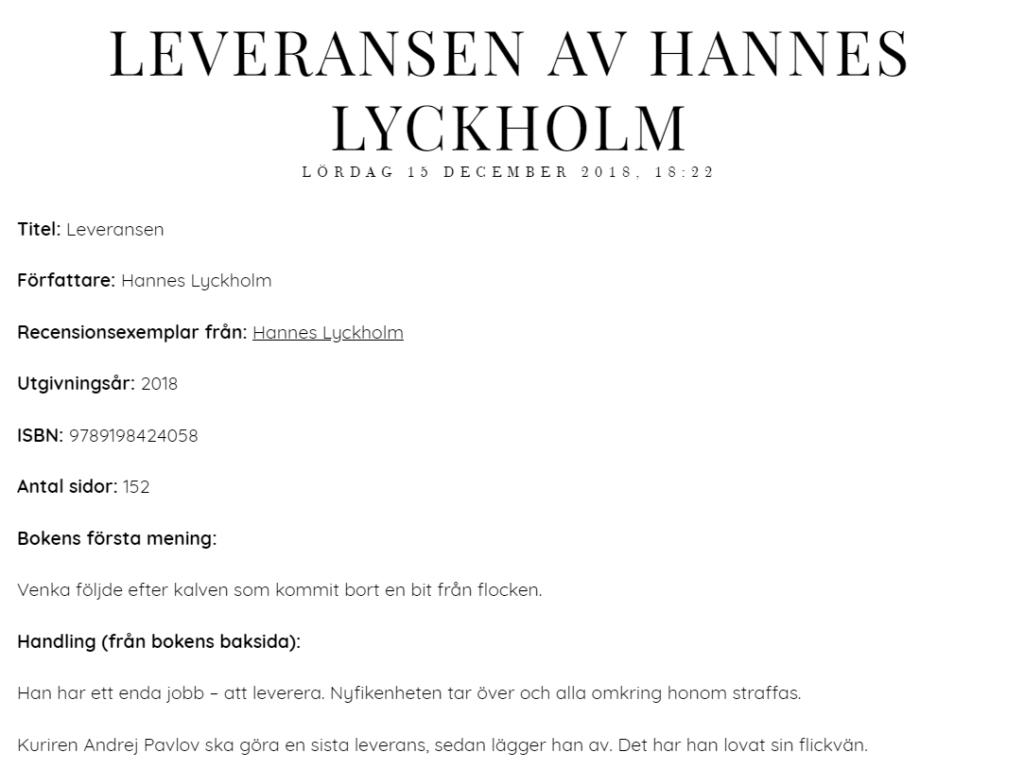 Recension Leveransen Hannes Lyckholm Bokmysan blogg